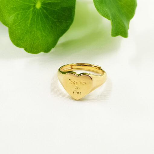 NHS Supporting 18k Gold on Silver Together As One Adjustable Ring