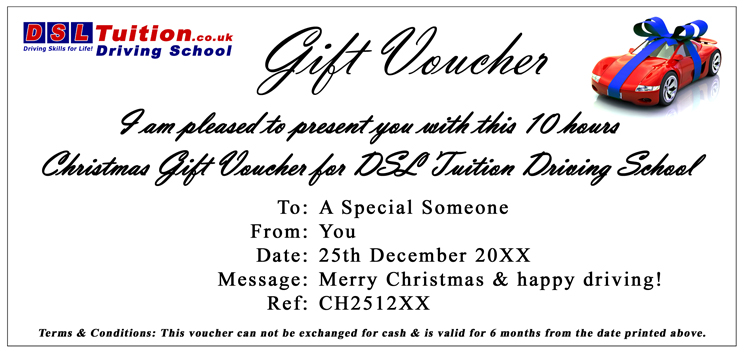 Cheap Christmas & Special occasion gift vouchers - The best quality driving lesssons with Cheap 50% OFF your Driving Schools Lesson - Intensive Crash Courses.